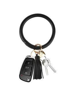 NISFAR Key Chain Key Ring Bracelets Wristlet Keychain Bangle Keyring Large Circle Leather Tassel Bracelet Holder For Women