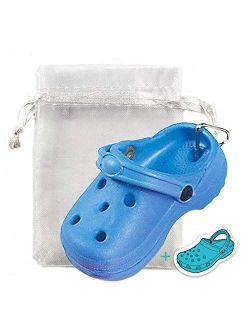 """Mini Clog Shoe Keychain with Organza Gift Bag and Clog Sticker- 5"""" total size with ring - Choose Color"""