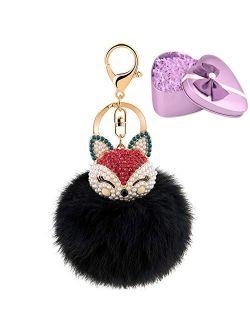 JOUDOO Fluffy Fur Ball Keychain With Gift Box Fox Head Pom Pom Keyring GJ020