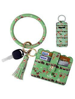 ICECORAL Wristlet Keychain Bracelet Pocket Credit Card Holder Tassel Bangle Leather Keychain Wallet For Women