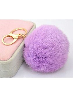 18 K Gold Plated Keychain with Plush Cute Genuine Rabbit Fur Key Chain for Car Key Ring or Bags 0025 (Color 15)