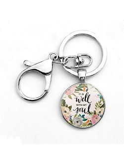 Toporchid God is Within Her. She Will Not Fall Faith Keychain Keyring Christian Party Gift