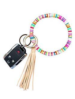 Loodial Boho Keychain Bracelet Beaded Keychain Wristlet with Tassel Keychains for Women