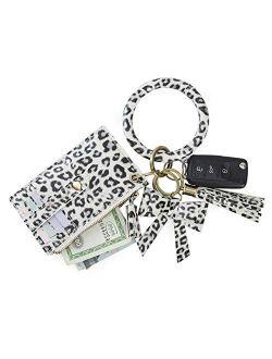 Wristlet Keychain Wallet Key Ring Bracelets Card Holder Purse With Tassel, Bow