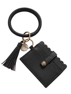 Women Wristlet Bracelet KeychainKeyring Bangle PU Leather Tassel Round Keychain Wallet with Card Holder by THOVSMOON