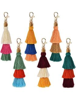 Tatuo 6 Pieces Handmade Bohemian Tassel Keychain Tassels Bag Key Chain Charm Handbags Pendant Key Chain Rings