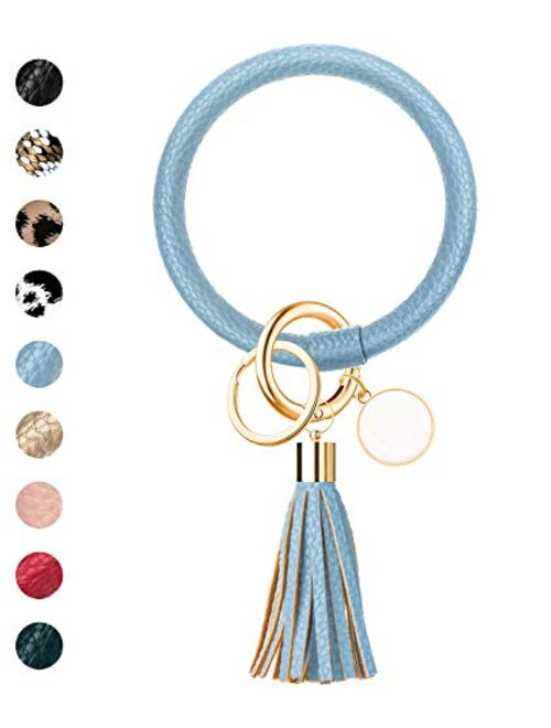 ZALAVER Keychain Bracelet Wristlet Key Ring Bangle Keyring, Circle Leather Tassel Bracelets Holder for Women Girls