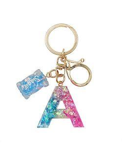 SELOVO Initial Keychain Letter Alphabet Sweet Bag Charm Key Chain for Women Girl
