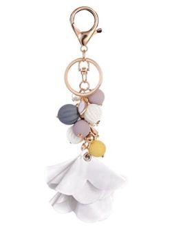 Giftale Pumpkin Beads Fabric Flower Handbag Charms Purse Keychain for Women