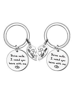 Drive Safe Keychain Set Couple Gift I need you here with me Keyring for Mom Dad Girlfriend Boyfriend Gift (442)
