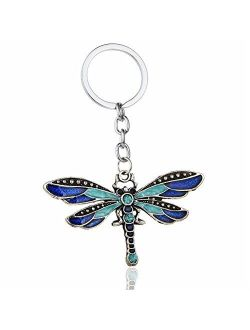 Aysekone Chic Enamel Dragonfly Keychain Bohemia Dragonfly Pendants Keyring Women Ladies Jewelry Gifts Animal Charms Key Chain Car Bags KeyfobBlue
