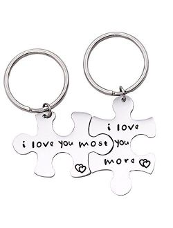 Melix Home Puzzle Piece Keychain I Love You More I Love You Most Couples Keychains Cute Couple Gifts