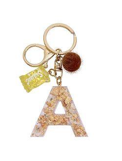 SELOVO Orange Flower Initial Keychain Letter Alphabet Sweet Bag Charm Key Chain