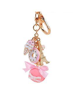 Giftale Hamburger Handbag Accessories Ice cream Key Chain for Women Pink Bag Charms,#619-2