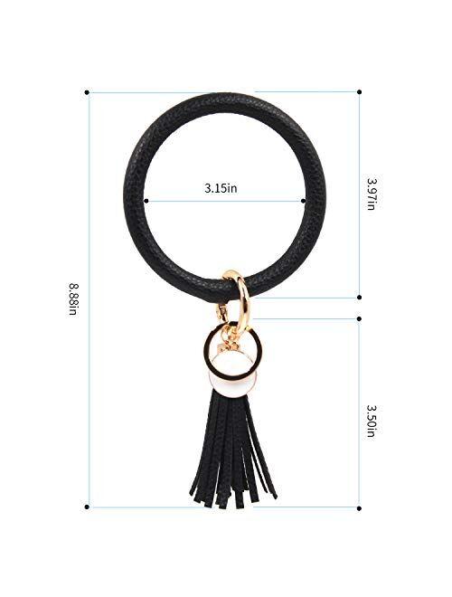 VANGAY Upgraded Wristlet Keychain Bracelet for Women Girls Leather Keyring Oversized Bangle Key Chain Tassel Bracelet Holder