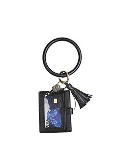 Upgrade Leather Circle Wristlet Bracelet Keychain Wallet Key Ring ID Card Holder Pouch