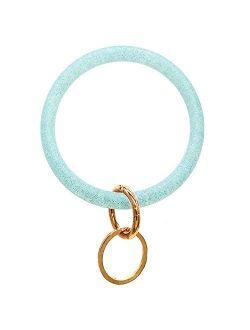 Silicone Key Ring Bracelet Wristlet Keychain Bangle - Glitter Silicone Key Rings for Women - Round Key Ring Chain