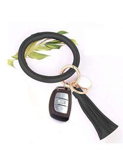 Keychain Bracelet, Leather Wristlet Keyring Bangle Bracelet with Tassel, Oversize Round Key Chain Wrist Bracelet for Women Girls, Perfect for Birthday, Valentine's Day