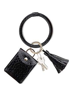 NICAV Keychain Wallet Bracelet, Upgraded Tassel Key Ring Bracelet with Wallet Card Holder Leather Bangle Key Ring for Women