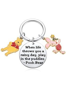 Winnie The Pooh Gift Pooh Piglet Teddy Bear Keychain Decor Party Suppiles - When Life Throws You a Rainy Day, Play in The Puddles Inspirational Gifts