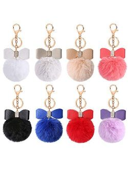 Auihiay 8 Pieces Fluffy Pom Poms Keychains Bow Rhinestone Pompoms keyrings for Car Bag DIY accessories
