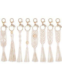 8 Pieces Mini Macrame Keychains Boho Macrame Bag Charms for Car Key Purse Phone Supplies