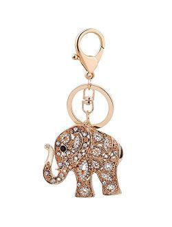Skull Key Keychains 3D Creative Novelty Blings Crystal Skull Elephant Keychain for Women Girl Charm Purse Handbag Gift
