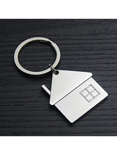 ISKYBOB Set of 3 House Design Key Chain Creative Metal Keyring Gift