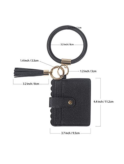 Hobein Multifunctional Bangle Key Ring Card Holder PU Leather Round Keychain Wallet With Matching Wristlet Wallet or Women Girls