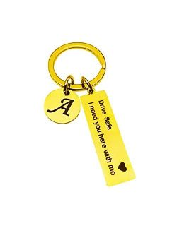 Drive Safe Stainless Steel Key chain 26 Letter Keychain Drive Safe I Need You Here with Me
