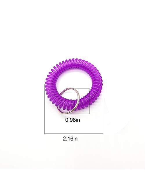 10PCS Mix-Colour Plastic Key Ring Bracelet Spring Coil Key Chain-Spiral Key Ring Keychain MUXIOM Random Color