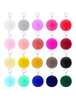 Pom Poms Keychain for Girls Women, Flasoo 20pcs Pom Poms Keychain Bulk Puff Ball Keychain Fluffy Pompoms with Keyring for Keychains Bags