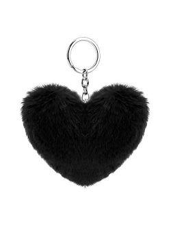 Soleebee Soft Artificial Rabbit Fur Keychain Love Heart Plush Key Ring Cute Bag Charm for Women Girls