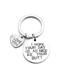 Keychain Gifts for Girlfriend Boyfriend, Valentines Day Gift Stainless Steel Key ring for Him Her Wife Husband