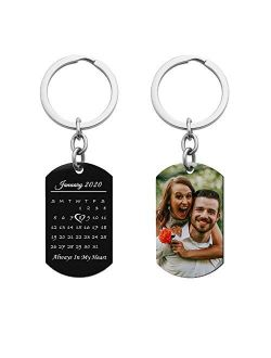 Queenberry Laser Engraved Personalized Calendar Date/Photo/Text Stainless Steel Dog Tag Keychain Personalized Photo Special Note to Hushand