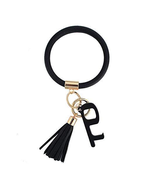 Leather Bracelet Key Ring Bangle Keyring Tassel Ring Circle Key Ring Keychain Wristlet with No Touch Key Door Opener