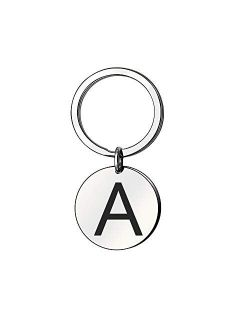 Personalized Name Inspirational Keychain Initial A-Z Engraved Name Key Chain Stainless Steel Keyring Women Men Gift
