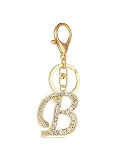 Reizteko Keychain for Women Purse Charms for Handbags Crystal Alphabet Initial Letter Pendant with Key Ring