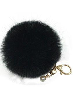Amiley Fluffy Faux Rabbit Fur Ball Charm Pom Pom Car Keychain Handbag Key Ring