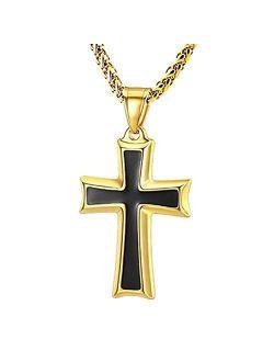 Mens Stainless Steel Cross Pendant Necklace Flower Basket Chain