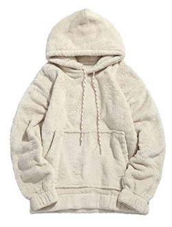 Ryannology Mens Fuzzy Drawstring Pullover Fleece Hoodies Soft Warm Winter Thicken Outerwear Fluffy Comfy Hoodie Sweatshirt