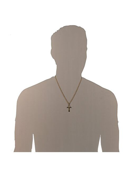 """HZMAN Men's Stainless Steel Coptic Ankh Cross Religious Pendant Necklace, 22+2"""" Rope Chain"""