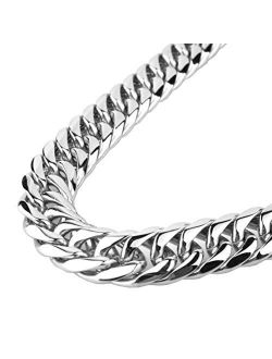 GZMZC Cuban Link Chain Necklace or Bracelet 9/11/13/16/19/21mm High Polished Stainless Steel Curb Chain for Men Boys Party Street Wear Hip Hop Miami Cuban Chains 7-30inch