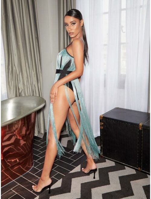 Shein Bodysuit Insert Fringe Cami Dress