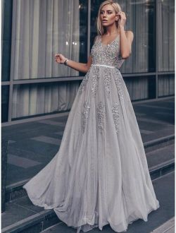V-back Appliques Bodice Mesh Prom Dress