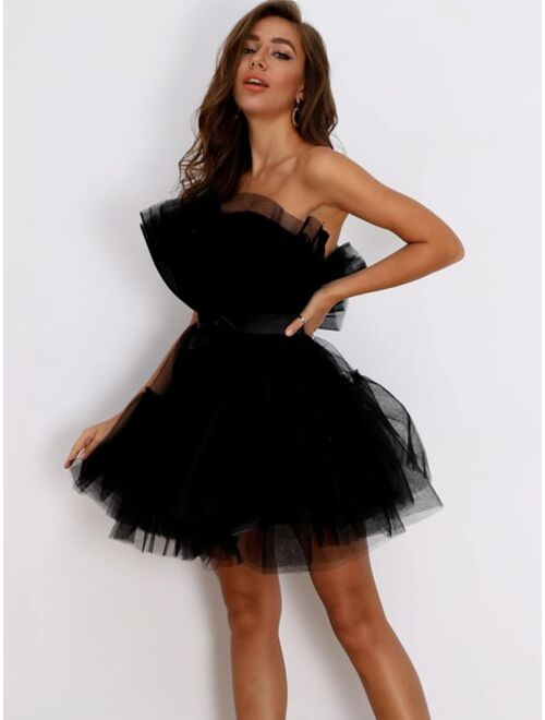 Shein Bow Front Layered Tube Tulle Dress