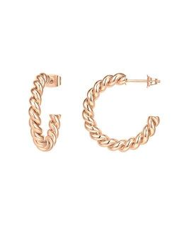 14k Gold Plated 925 Sterling Silver Twisted Rope Round Hoop Earrings In Rose Gold, White Gold And Yellow Gold