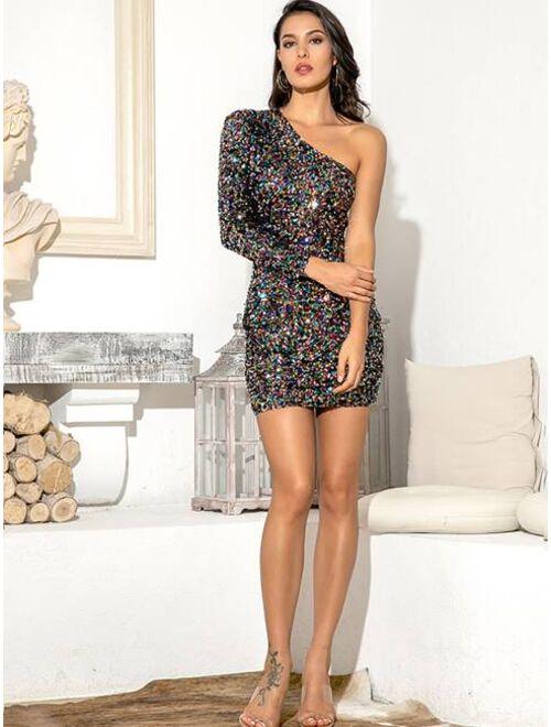 One Shoulder Sequin Dress