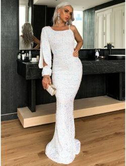 Asymmetrical Neck Mermaid Hem Sequin Prom Dress