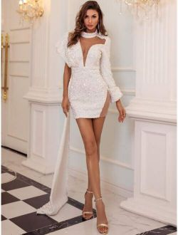 Mesh Insert Draped Sequin Prom Dress